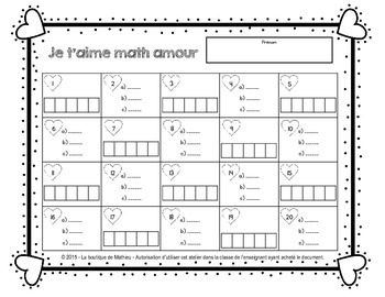 Je t'aime math amour! (20 cartes à tâches [additions, soustractions, suites])