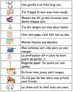 Les parties du corps: Je pratique mon vocabulaire {French Vocabulary Practice}
