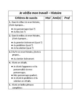 Je vérifie mon travail (Checklists for Short Stories and Journals - In French)