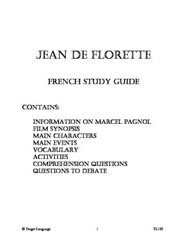 Jean de Florette-French Study Guide
