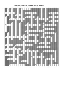 Jean de Florette & Manon - Lesson Plan  - Crossword Puzzle French