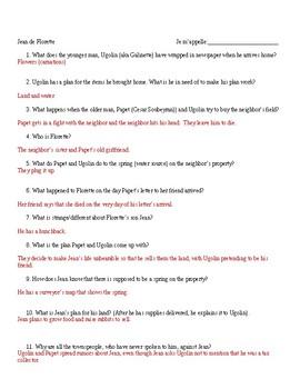 Jean de Florette movie-viewing questions