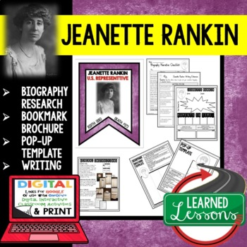 Jeanette Rankin Biography Research, Bookmark Brochure, Pop-Up, Writing