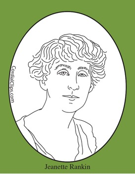 Jeanette Rankin Clip Art, Coloring Page or Mini Poster