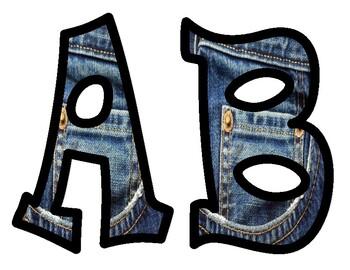 Jeans Bulletin Board Alphabet Letters