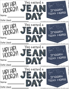 Jeans Pass Freebie by Teacheru0026#39;s Clubhouse | Teachers Pay Teachers