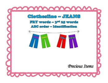 """Jeans on Clothesline """"FRY"""" Sight Words - 3rd 25"""