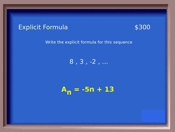 Jeapordy Review for Sequences and Series