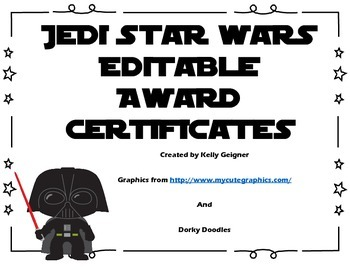 Jedi Star Wars Award Certificates EDITABLE by Kelly ...