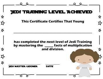 Jedi Star Wars Award Certificates EDITABLE