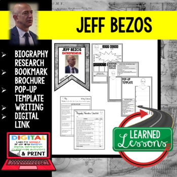 Jeff Bezos Biography Research, Bookmark Brochure, Pop-Up, Writing, Google