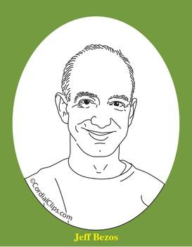 Jeff Bezos Clip Art, Coloring Page, or Mini-Poster