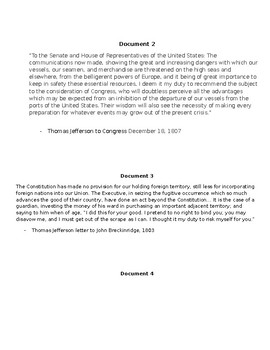 Jefferson DBQ Prep Work Activity for AP US History