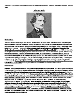 Jefferson Davis Biography Create The Questions CCRS Common