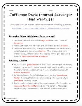 Jefferson Davis Internet Scavenger Hunt WebQuest Activity