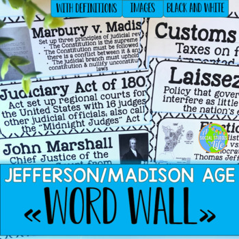 Jefferson, Madison, War of 1812 Word Wall - Black and White