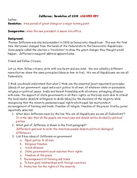 Jefferson: Revolution of 1800: Inaugural Address Worksheet with Answer Key