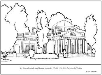 Jefferson, Thomas.  Monticello.  Coloring page and lesson plan ideas