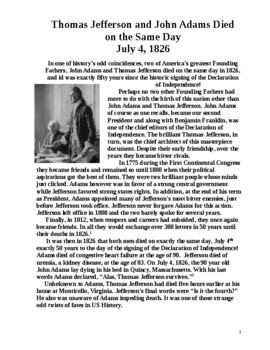 Jefferson and Adams Died Same Day: 1 page literacy w Questions