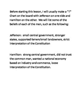 Jefferson vs. Hamilton Quotes Key