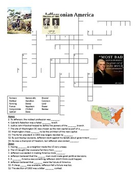 Jeffersonian America Crossword or Web Quest