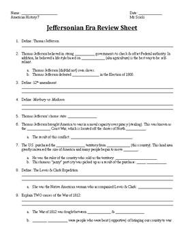 Jeffersonian Era Review Sheet