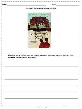 Jefferson's Sons by Kimberly Brubaker Bradley--Worksheets, Novel Study