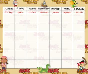 Jeke Pirate Calendar 24x20 Bilingual
