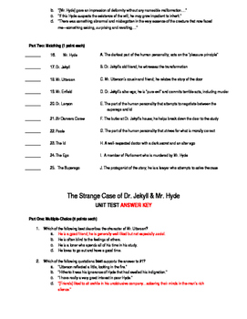 Jekyll & Hyde Unit Test - With Answer Key