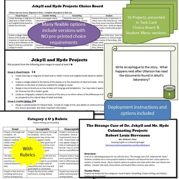Jekyll and Hyde Culminating Projects Differentiation Task Cards (R.L. Stevenson)