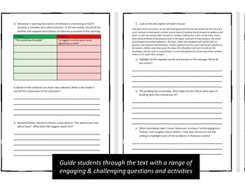 Jekyll and Hyde Printable Reading Comprehension Workbook. Chapter 1.