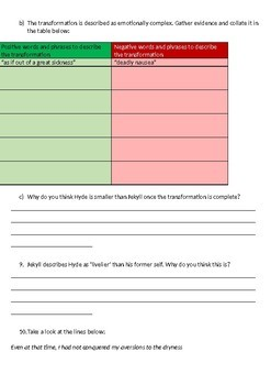 Jekyll and Hyde Printable Reading Comprehension Workbook. Chapter 10.