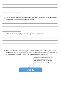 Jekyll and Hyde Printable Reading Comprehension Workbook  Chapter 10