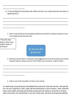 Jekyll and Hyde Printable Reading Comprehension Workbook. Chapters 3 and 4