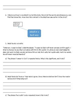 Jekyll and Hyde Printable Reading Comprehension Workbook. Chapters 5 and 6