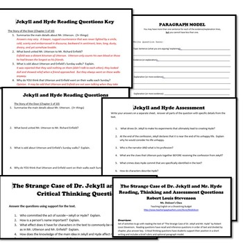 Jekyll and Hyde Reading Thinking Quiz Test Questions (R.L. Stevenson)