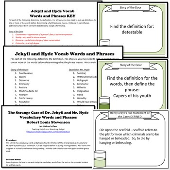 Jekyll and Hyde Vocabulary with Task Cards (R.L. Stevenson)