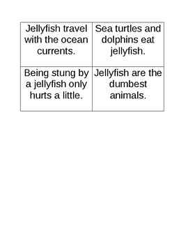 Jellies: Life of a Jellyfish Fact and Opinion Activity