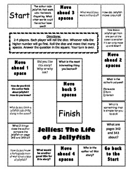 """""""Jellies: The Life of Jellyfish"""" 2nd grade Journeys comprehension game board"""