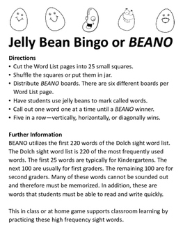Jelly Bean Bingo using Dolch sight word list