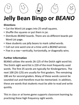 Jelly Bean Bingo using Dolch sight word list (words 26-100) for first grade