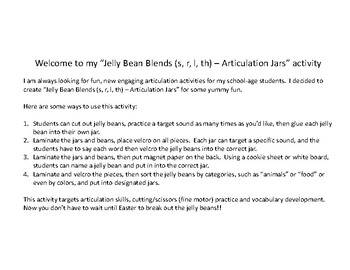 Jelly Bean Blends (s, r, l) - Articulation Jars