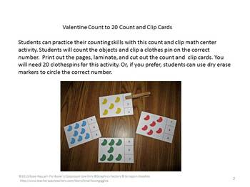Jelly Beans Counting to 20, Count and Clip, Kindergarten Math, Special Education