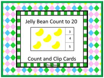 Easter Task Cards Count to 20 Jelly Beans Count and Clip C
