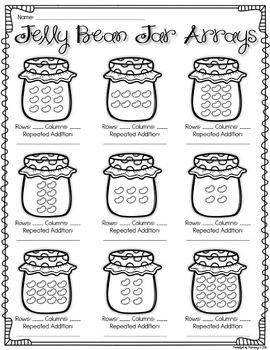 Jelly Bean Jar Arrays WORKSHEETS - 2.OA.4