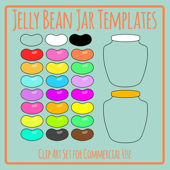 Jelly Bean Jar Templates for Counting, Estimation and Math Candy Clip Art