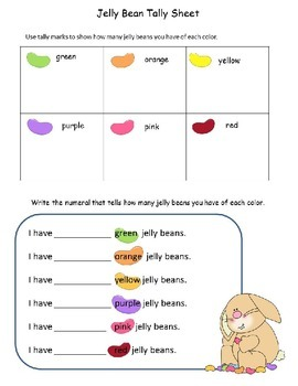 Jelly Bean Math --Sorting Graphing Tally Marks Addition