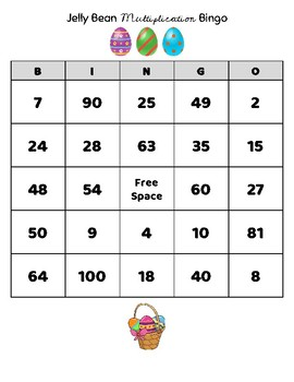 Jelly Bean Multiplication Bingo