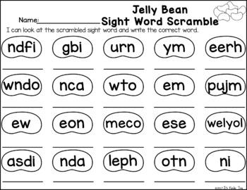 Jelly Bean Sight Word Scramble
