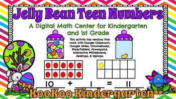 Jelly Bean Teen Numbers -A Digital Math Center (Compatible with Google Apps)